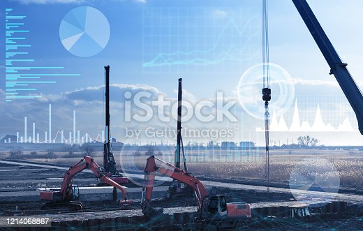 1136415363 istock photo automation concept of the construction industry, construction work on drilling piles and earthwork without human intervention, the use of artificial intelligence and industry 4.0 1214068867