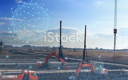 1136415363 istock photo automation concept of the construction industry, construction work on drilling piles and earthwork without human intervention, the use of artificial intelligence and industry 4.0 1214068874