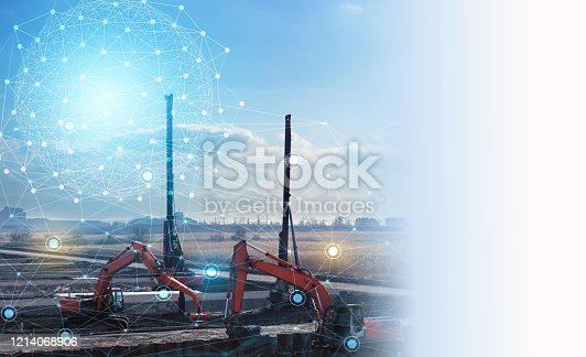 1136415363 istock photo automation concept of the construction industry, construction work on drilling piles and earthwork without human intervention, the use of artificial intelligence and industry 4.0 1214068906