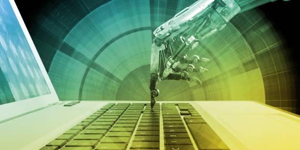 automatisering-concept - menselijke vinger stockfoto's en -beelden