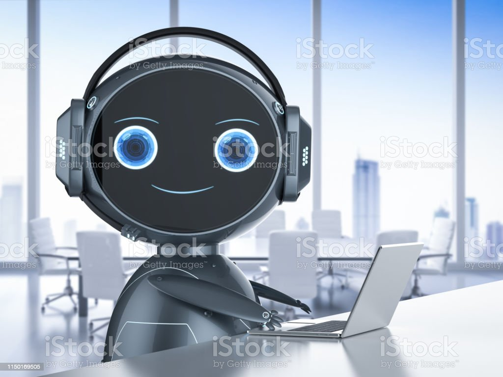 Automation customer service concept with 3d rendering humanoid robot...