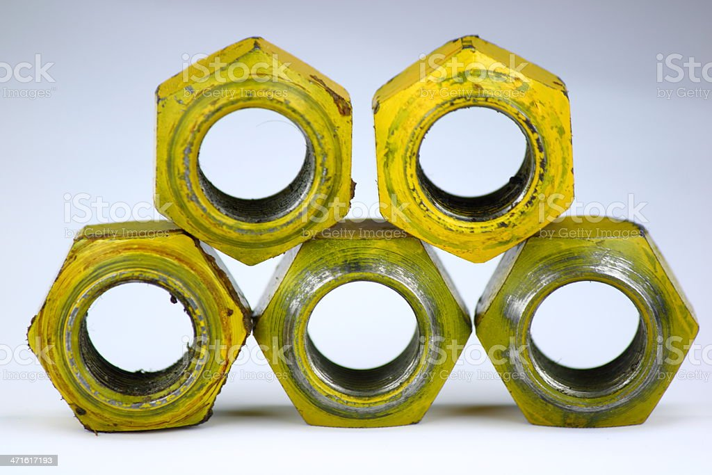 Automible Tire Rim Lug Nuts stock photo