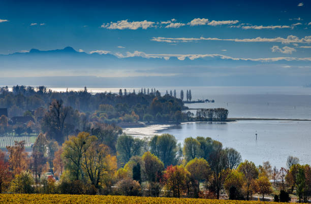 Automn at lake constance mountain saentis over the lake constance Bodensee stock pictures, royalty-free photos & images