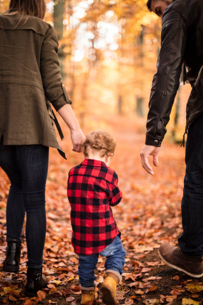 Automne with the family stock photo
