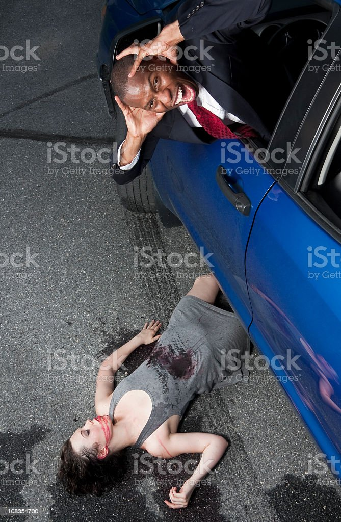 Automobile Accident, Man Runs Over Girl stock photo
