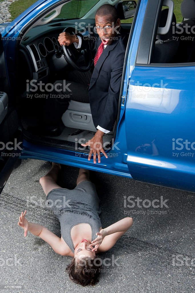 Automobile Accident, Man Runs Over Girl royalty-free stock photo