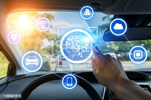 692819426istockphoto Automobile and AI (artificial Intelligence) concept. Autonomous car. 1168361915