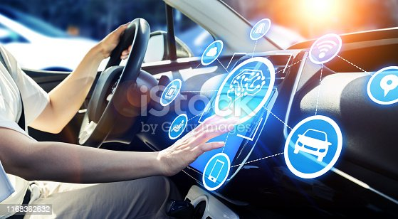 692819426istockphoto Automobile and AI (artificial Intelligence) concept. Autonomous car. 1168362632