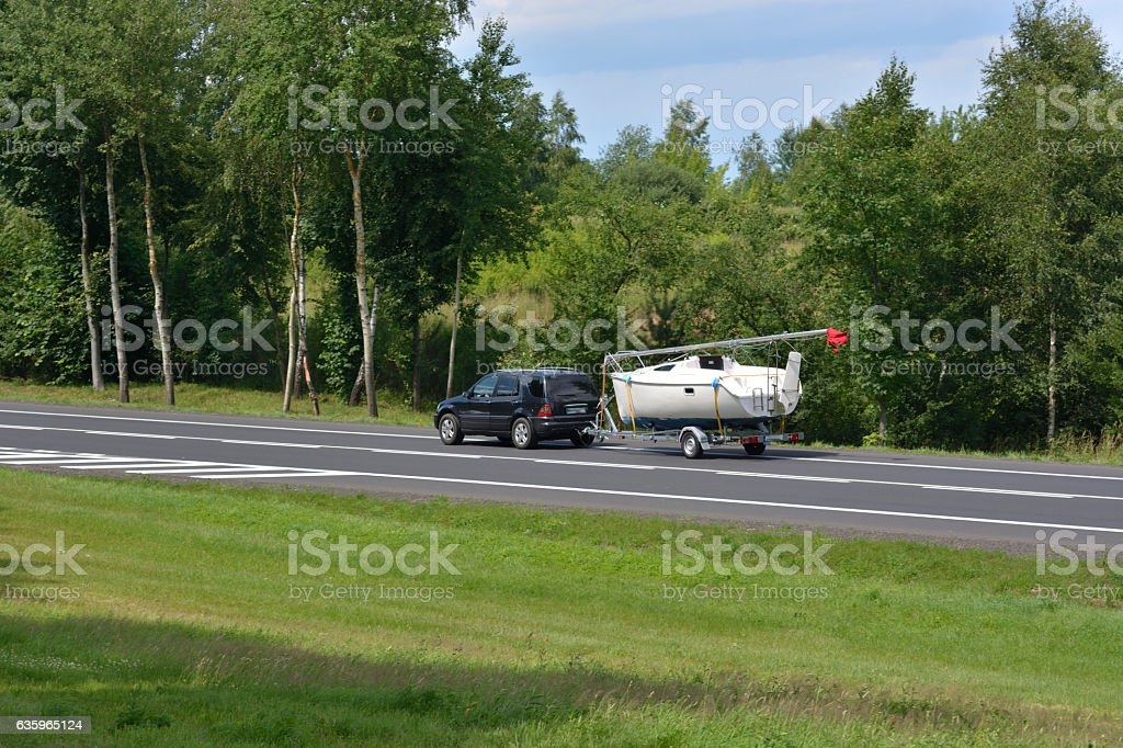 automobile and boat stock photo