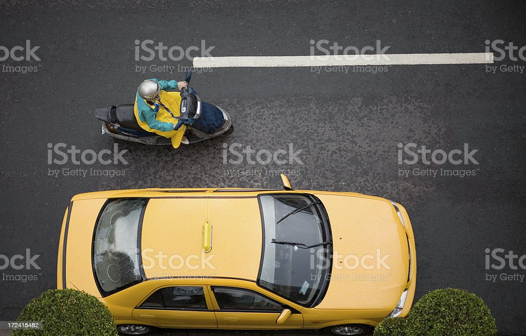automobile and scooter top shot stock photo