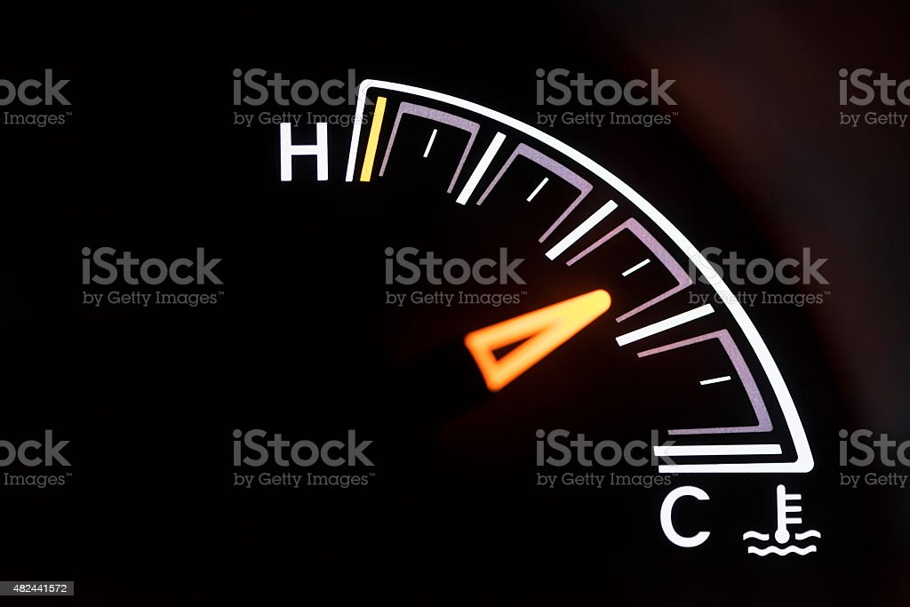 Automobile antifreeze temperature gauge stock photo