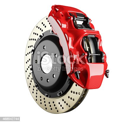 istock Automobile brake disk and red caliper 468542744