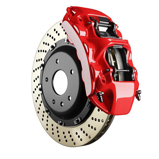 Automobile brake disk and red caliper stock photo