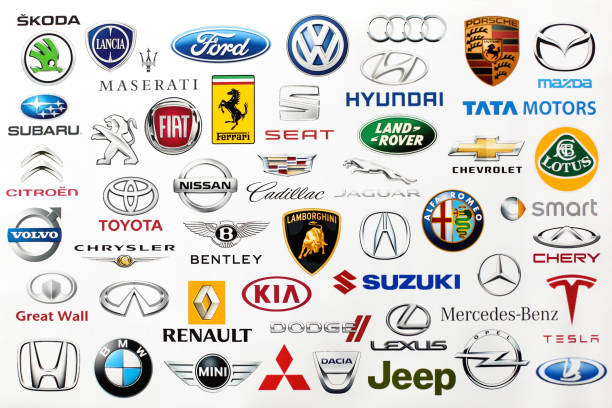 Automobile brands Logotype collection of some of most famous automobile brands in the world on a screen - including Renault, Suzuki, Chevrolet, Mercedes, Kia and much more printed on quality paper and shot with a high resolution camera. insignia stock pictures, royalty-free photos & images
