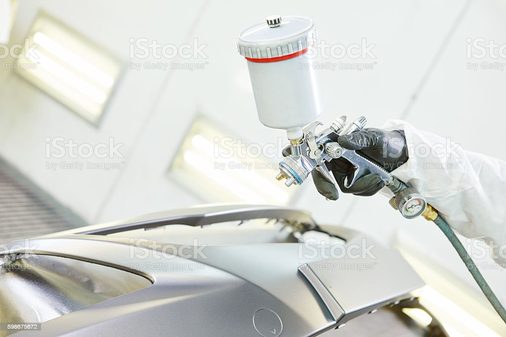 automobile car bumper painting in chamber stock photo