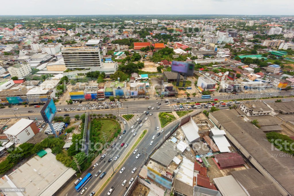 automobile congestion on road in city at rush time, bird eye view stock photo