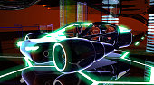 Futuristic research base and new generation concept car design.