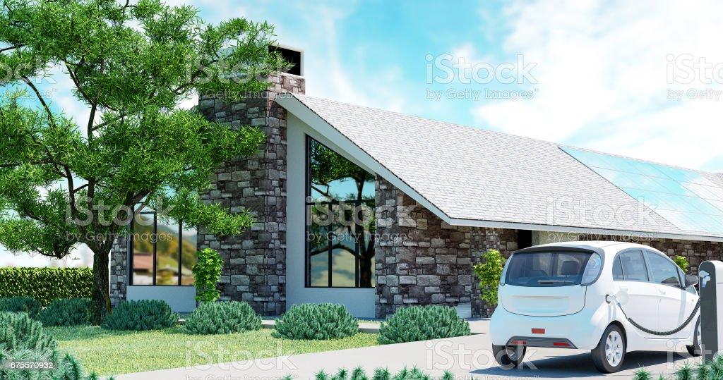 Automobile elettrica con casa ecologica stock photo