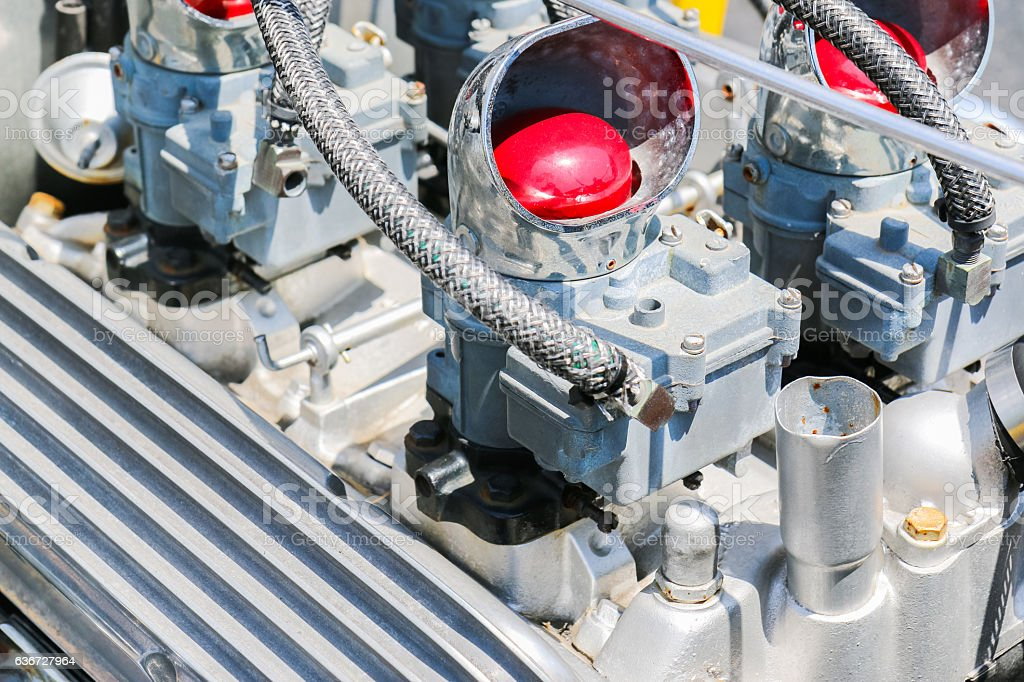 Automobile Engine close up in daylight. stock photo