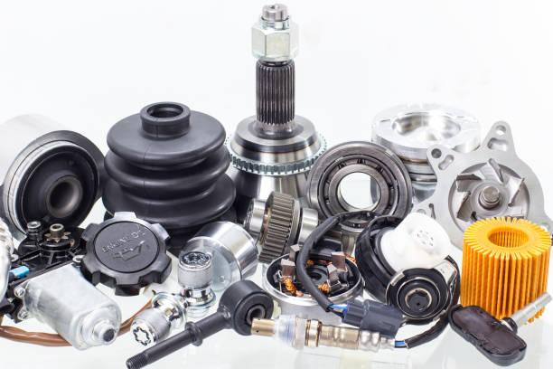 automobile engine parts isolated on white background. Auto shop stock photo