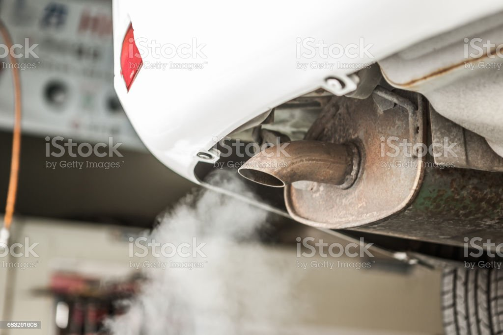 Automobile exhaust gas stock photo