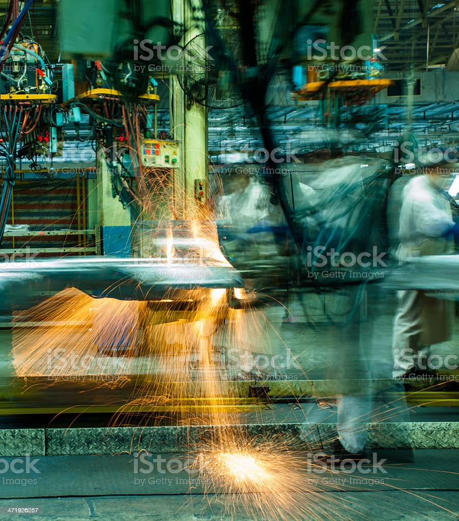 Automobile factory welding assemble line stock photo