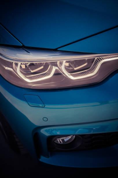 LED automobile headlights stock photo