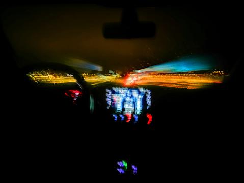 Automobile interior at night - Car interior at night