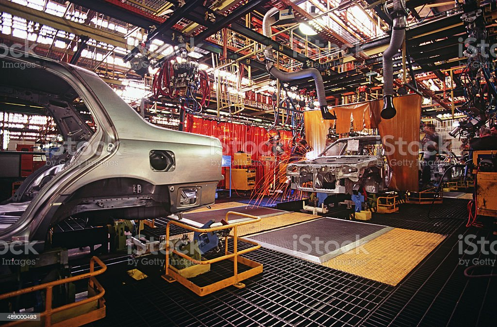 Automobile manufacturing plant stock photo