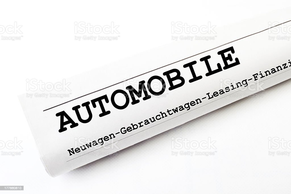 Automobile newspaper stock photo