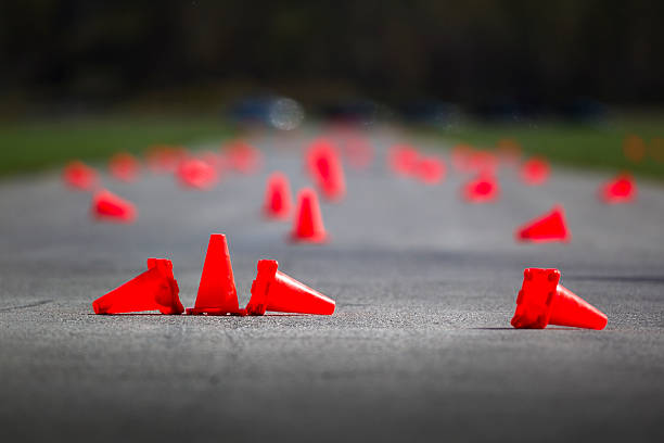 Automobile speed driving test track Race way obstacle course with pylons obstacle course stock pictures, royalty-free photos & images