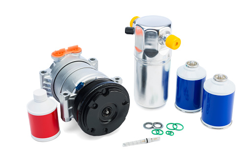 istock Automotive AC Parts, air conditioning compressor and Accumulator/Drier 500577419