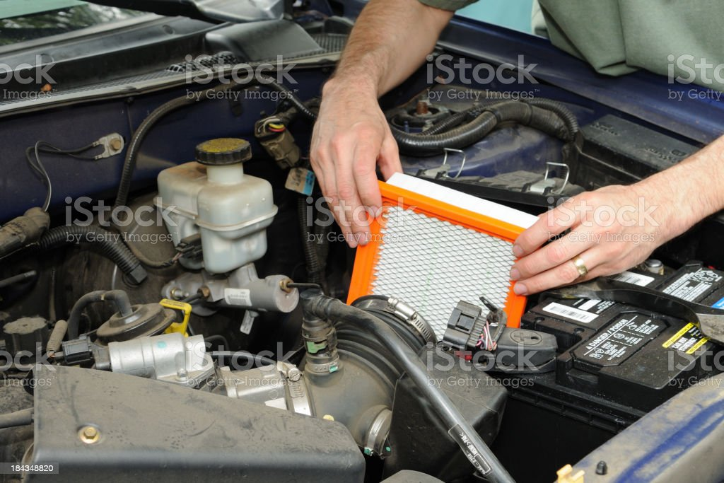 Automotive Air Filter Replacement stock photo
