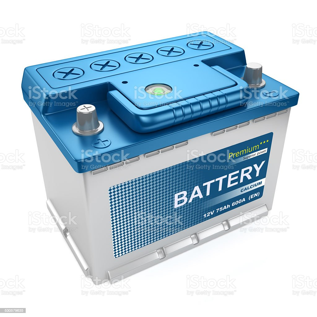 Automotive battery isolated stock photo