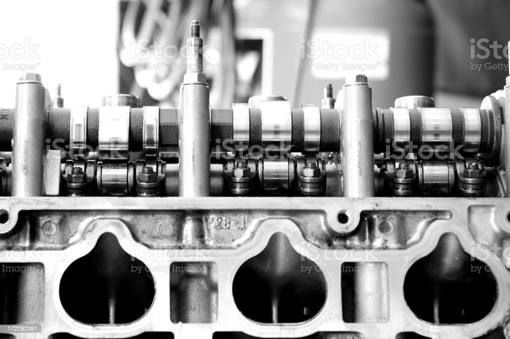 Automotive Black and White Engine stock photo