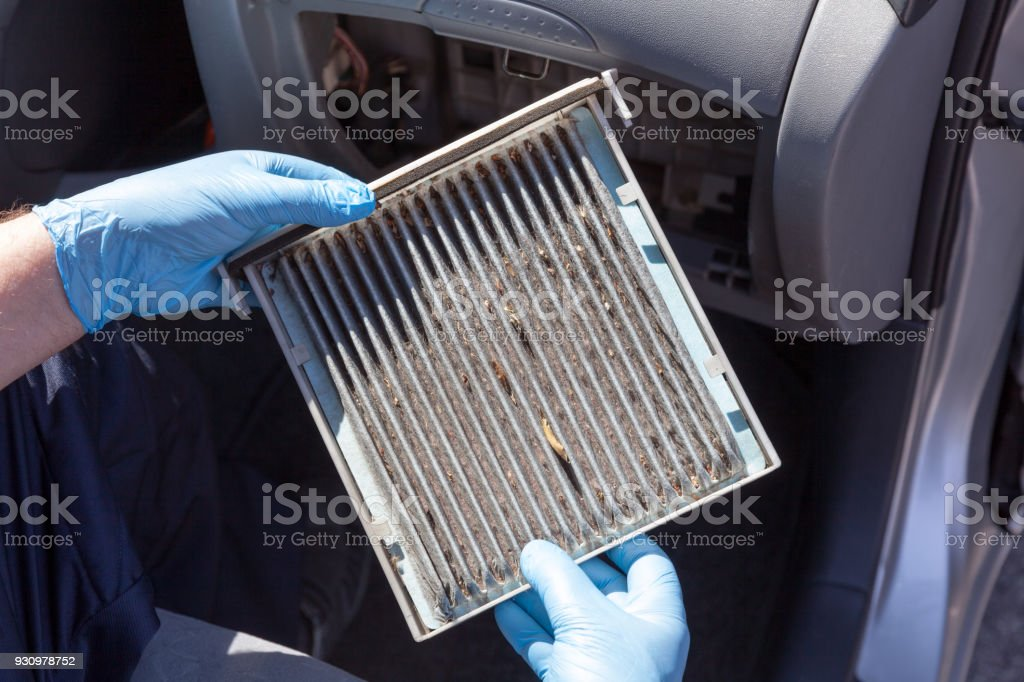 Automotive cabin air filter stock photo
