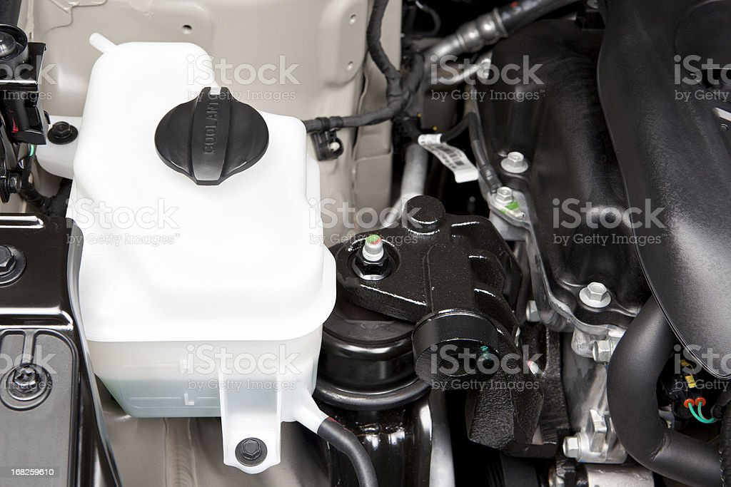 Automotive Engine Coolant Tank stock photo