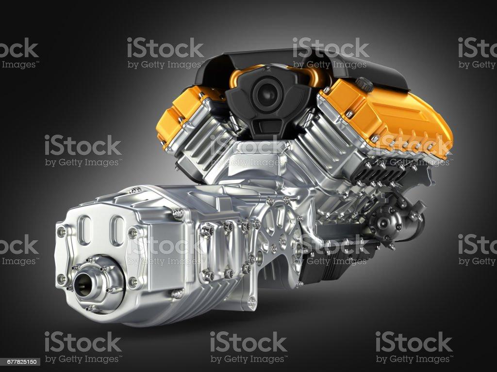Kfz-Motor Getriebe Montage auf schwarzen Farbverlauf Hintergrund 3D – Foto
