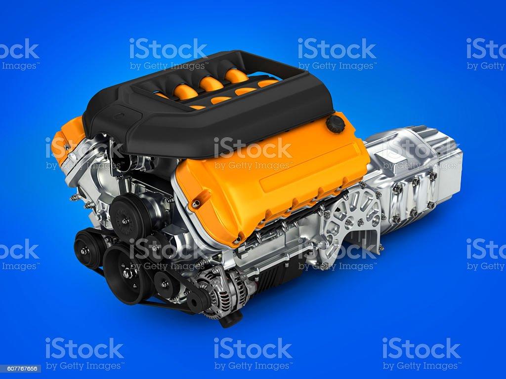 Automotive Motor gearbox Versammlung auf blauem Farbverlauf Hintergrund 3 – Foto