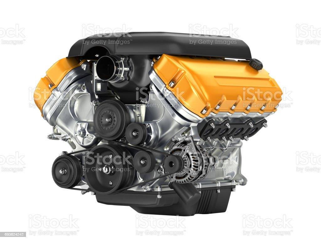 Kfz-Motor-Getriebe-Montage ohne Schatten auf weißem Hintergrund 3D – Foto