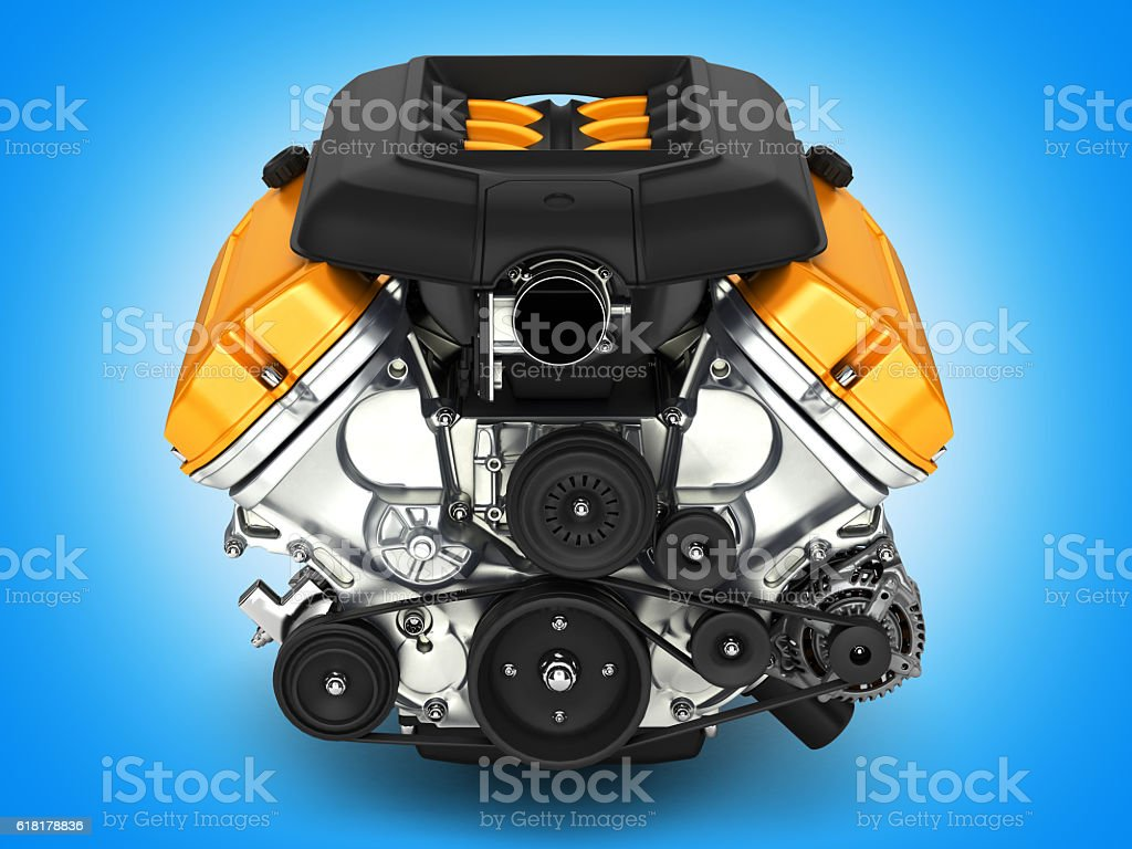 Automotive engine on blue gradient background 3D illustration – Foto