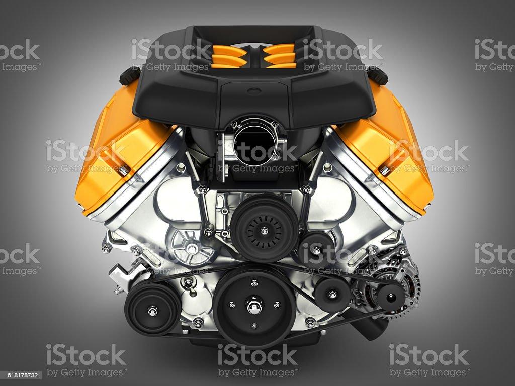 Automotive engine on grey gradient background 3D illustration – Foto
