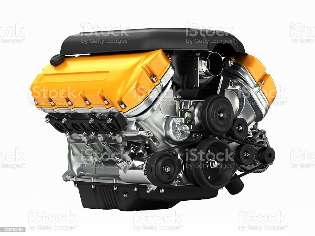 Automotive engine perspective view without shadow 3D stock photo
