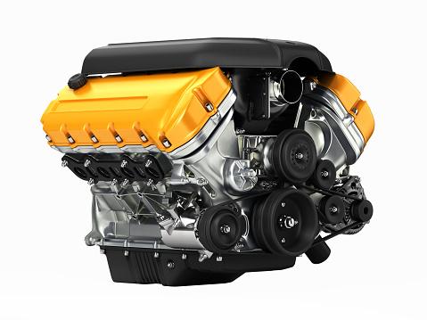 Automotive Engine Perspective View Without Shadow 3d - zdjęcia stockowe i więcej obrazów Benzyna