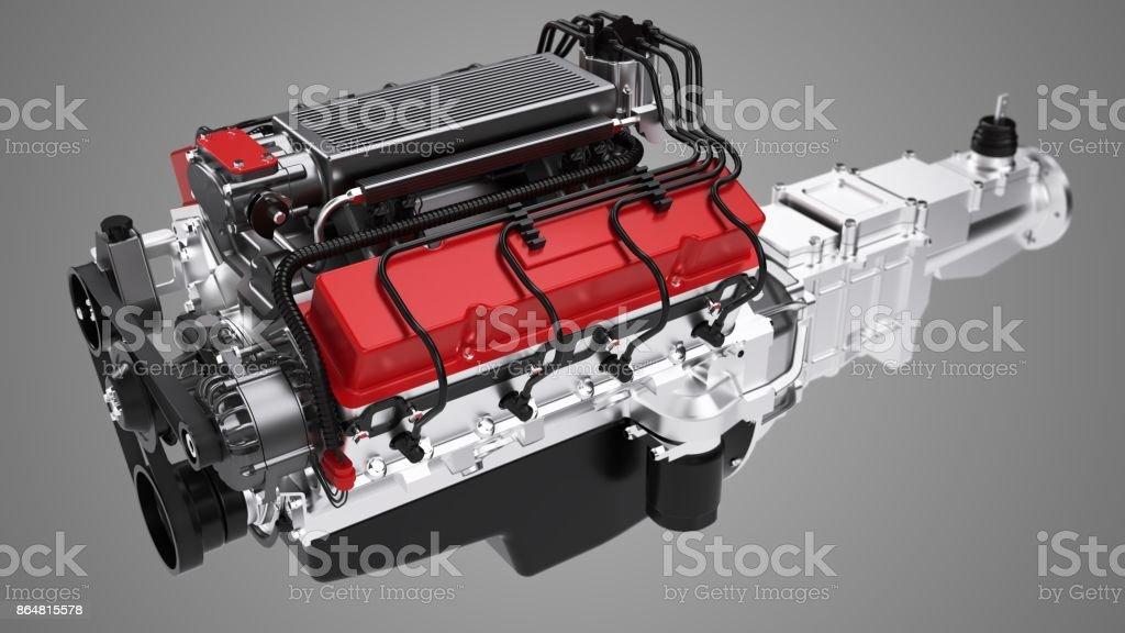 3D Kfz-Motor ohne Schatten auf Kunden Hintergrund isoliert – Foto