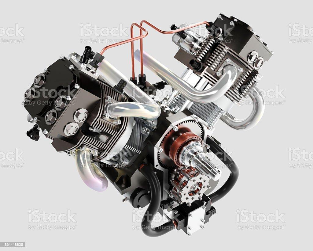 Kfz-Motor ohne Schatten isoliert auf weißem Hintergrund 3D - Perspektive – Foto
