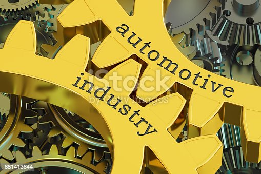 istock Automotive Industry concept on the gears, 3D rendering 681413644