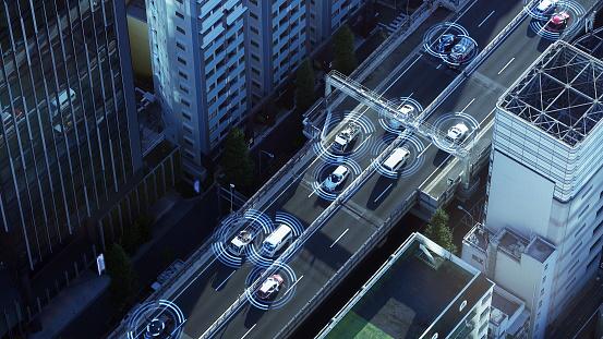 Automotive sensing system concept. Autonomous car. Driver assistant system. Adaptive cruise control.