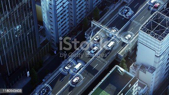 istock Automotive sensing system concept. Autonomous car. Driver assistant system. Adaptive cruise control. 1180543403