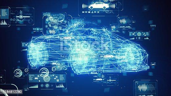 829191978istockphoto Automotive technology concept. Intelligent Transport Systems. Autonomous car. 3D rendering. 1184812280